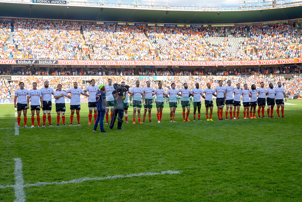 Singing of the National Anthem during the Currie Cup Final between the The Free State Cheetahs and Blue Bulls held at Toyota Stadium (Free State Stadium), Bloemfontein, South Africa on the 22nd October 2016<br /> <br /> Photo by:   Frikkie Kapp / Real Time Images