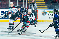 KELOWNA, BC - JANUARY 3: Dallon Wilton #15 of the Kelowna Rockets blocks a pass to Carson Miller #16 of the Victoria Royals during first period at Prospera Place on January 3, 2020 in Kelowna, Canada. (Photo by Marissa Baecker/Shoot the Breeze)