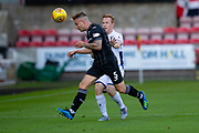 2nd Aug 2019, East End Park, Dunfermline, Fife, Scotland, Scottish Championship football, Dunfermline Athletic versus Dundee;  Tom Lang of Dunfermline Athletic heads clear from Danny Johnson of Dundee