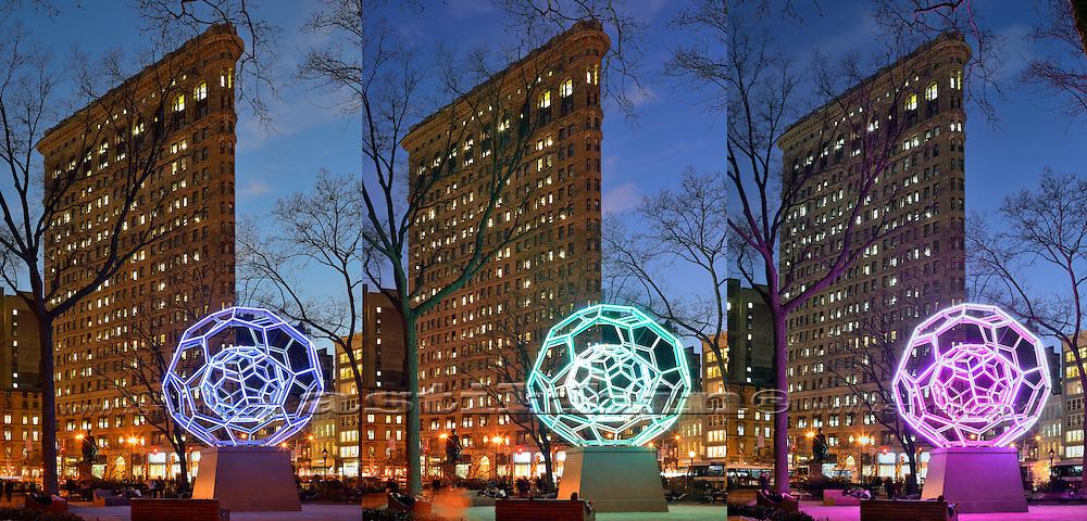 Villareal's BUCKYBALL on Flatiron District. Manhattan New York City. Triptych.