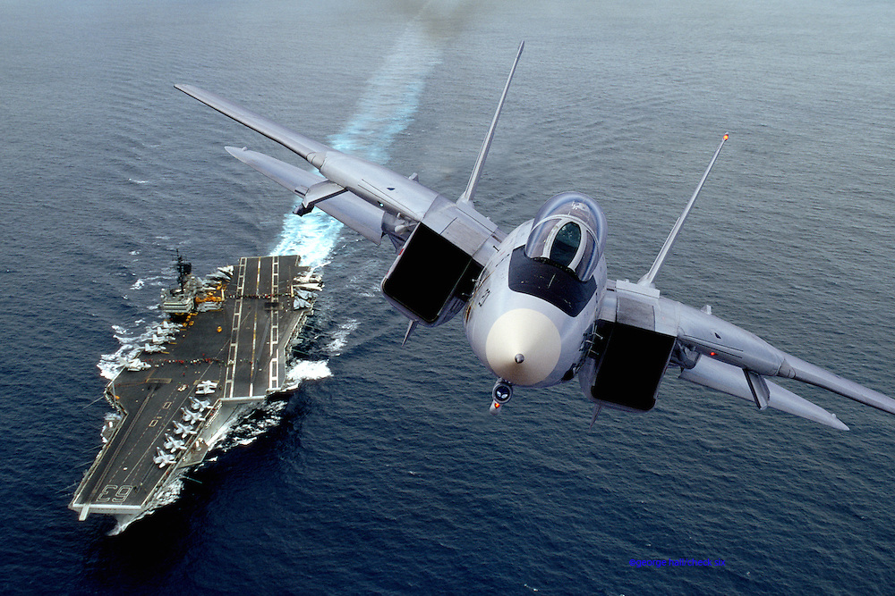 F-14 low pass over USS Kitty Hawk CV-63