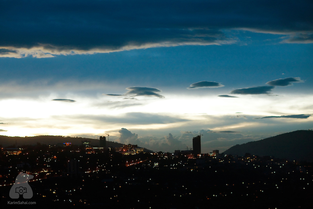 The sun sets over Kigali, the capital of Rwanda