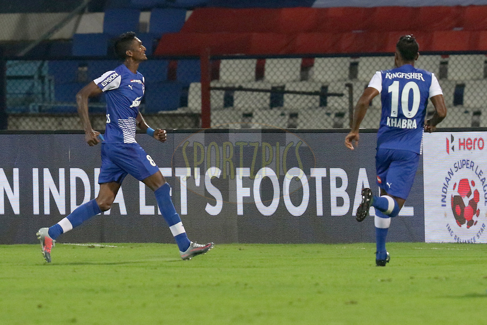 Lenny Rodrigues of Bengaluru FC  celebrates the goal during match 10 of the Hero Indian Super League between Bengaluru FC and Delhi Dynamos FC held at the Sree Kanteerava Stadium, Bangalore, India on the 26th November 2017<br /> <br /> Photo by: Faheem Hussain / ISL / SPORTZPICS