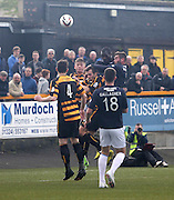Christian Nade heads Dundee into the lead - Alloa Athletic v Dundee, SPFL Championship at Recreation Park, Alloa<br /> <br />  - &copy; David Young - www.davidyoungphoto.co.uk - email: davidyoungphoto@gmail.com