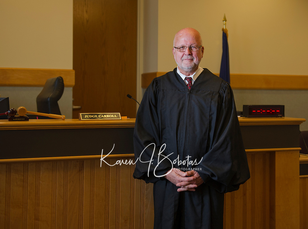 Judge James Carroll in Laconia District Court.  (Karen Bobotas/Photographer)