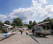 Maidenhead, ENGLAND. General view of the  boat park and car park area, with crews rigging their boat to compete,  at Maidenhead Rowing club,   Maidenhead Town Regatta, River Thames.  16:59:50  Saturday  08/08/2015   [Mandatory Credit. Peter SPURRIER/ Intersport Images.
