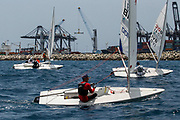 World Sailing Emerging Nations Program - Boca Chica Sailing Club, Santo Domingo 08/19/2017 - DAY 1- Participants sail during the exercise in front of the Caucedo industrial port