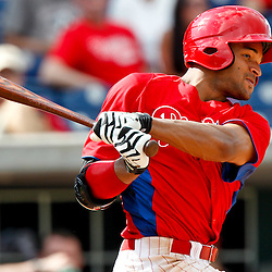 February 29, 2012; Clearwater, FL, USA; Philadelphia Phillies right fielder Tyson Gillies (64) during a spring training exhibition game against Florida State University at Bright House Networks Field. The Phillies defeated Florida State 6-1. Mandatory Credit: Derick E. Hingle-US PRESSWIRE