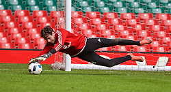 CARDIFF, WALES - Saturday, March 26, 2016: Wales' goalkeeper Daniel Ward during a training session at the Millennium Stadium ahead of the International Friendly match against Ukraine. (Pic by David Rawcliffe/Propaganda)