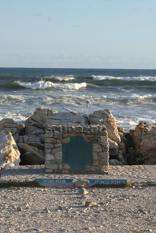 Meeting point of Indian and Atlantic oceans, Cape Agulhas, South Africa.