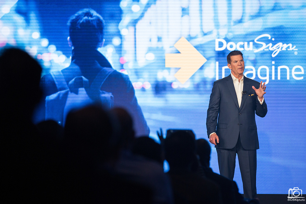 DocuSign hosts its Momentum 2016 summit at Union Square in San Francisco, California, on April 6, 2016. (Stan Olszewski/SOSKIphoto)