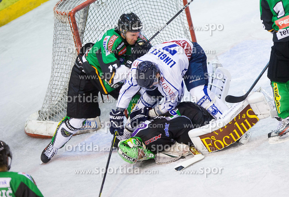 Ziga Grahut of Olimpija, Charles Linglet of Medvescak and Jerry Kuhn of Olimpija during friendly ice hockey match between HDD Telemach Olimpija and KHL Medvescak (CRO) before new season 2013/14, on August 8, 2013 in Ice Arena Tabor, Maribor, Slovenia. (Photo by Vid Ponikvar / Sportida.com)