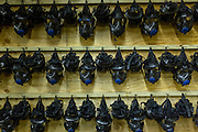 Gas masks hang from a wall at the gas training facility at the US Marine Corps Recruit Depot bootcamp January 13, 2014 in Parris Island, SC.