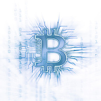 Bitcoin ₿ cryptocurrency, digital decentralized currency symbol conceptual illustration, bitcoin logo connected to a blockchain network. Blue on white background.