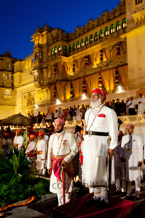 Shriji Arvind Singh, Custodian of the House of Mewar, & son Lakshyaraj Singh at Holi Fire Festival, City Palace, Udaipur, India