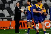 Head coach Cory Brown of Otago leads a drill prior to the Mitre 10 Competition match between Otago and Wellington at Forsyth Barr Stadium on August 25, 2016 in Dunedin, New Zealand. Credit: Joe Allison / www.Photosport.nz