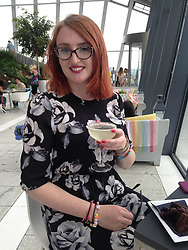Emma at the Sky Garden in 2016. Emma McCauley, 26, of Barking, East London had to undergo a double mastectomy just weeks after losing her mother to breast cancer, discovering she herself had breast cancer and keeping it a secret whilst caring for her mother in her final weeks. London, July 31 2019.