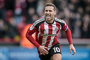 Billy Sharp (Captain) (Sheffield United) turns to celebrate scoring a goal from the penalty spot to make it 2-0 to Sheffield United during the EFL Sky Bet League 1 match between Sheffield Utd and Bolton Wanderers at Bramall Lane, Sheffield, England on 25 February 2017. Photo by Mark P Doherty.