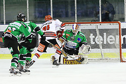 27.02.2015, Hala Tivoli, Ljubljana, SLO, EBEL, HDD Telemach Olimpija Ljubljana vs HC TWK Innsbruck, 6. Qualification Round, in picture Benedikt Schennnach (HC TWK Innsbruck, #41) vs Miika Wiikman (HDD Telemach Olimpija, #35) during the Erste Bank Icehockey League 6. Qualification Round between HDD Telemach Olimpija Ljubljana and HC TWK Innsbruck at the Hala Tivoli, Ljubljana, Slovenia on 2015/02/27. Photo by Morgan Kristan / Sportida