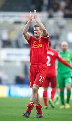 27.04.2013, St. James Park, Newcastle, ENG, Premier League, Newcastle United vs FC Liverpool, 35. Runde, im Bild Liverpool's Jamie Carragher after the 6-0 victory over Newcastle United during during the English Premier League 35th round match between Newcastle United and Liverpool FC at the St. James Park, Newcastle, Great Britain on 2013/04/27. EXPA Pictures © 2013, PhotoCredit: EXPA/ Propagandaphoto/ David Rawcliffe..***** ATTENTION - OUT OF ENG, GBR, UK *****