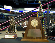 Several trophies are displayed during Allen High School's football state championship community celebration at the Allen Event Center on Wednesday, January 30, 2013 in Allen, Texas. (Cooper Neill/The Dallas Morning News)