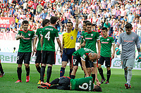 Athletic Club´s players protest the referee Jaime Latre during 2014-15 La Liga match between Atletico de Madrid and Athletic Club at Vicente Calderon stadium in Madrid, Spain. May 02, 2015. (ALTERPHOTOS/Luis Fernandez)