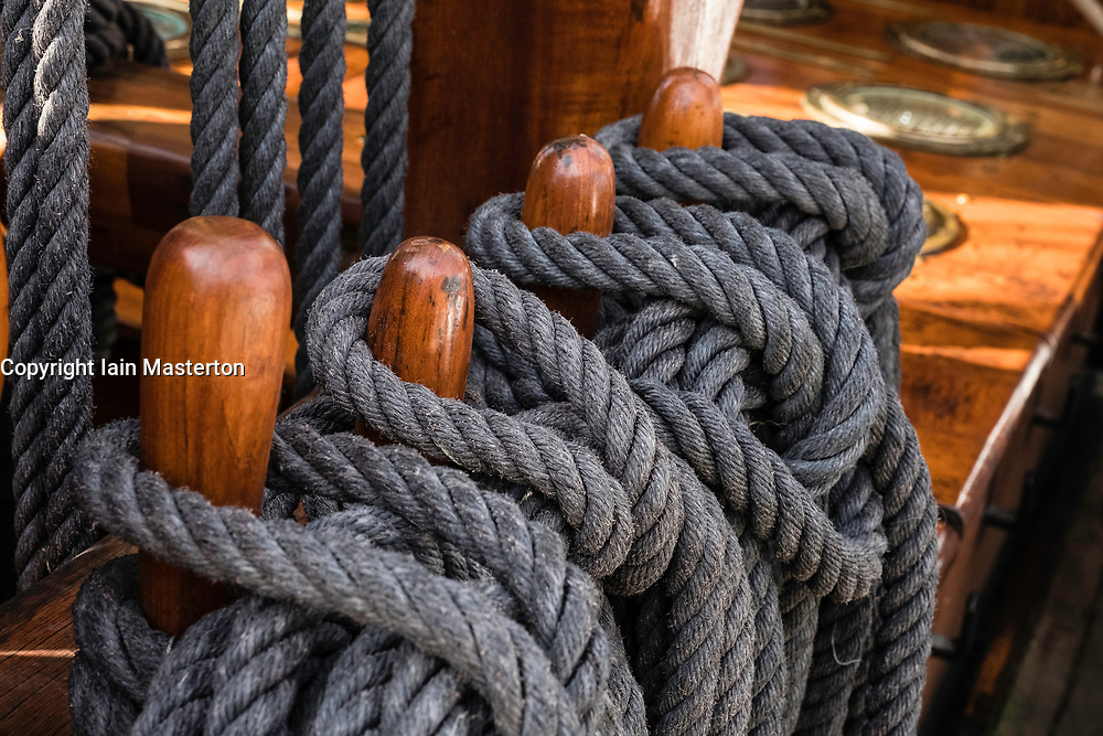 Detail of ropes on RSS Discovery ship berthed in Dundee ,Tayside, Scotland,