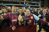 Aston Villa fans celebrate after Fabian Delph, the Aston Villa captain scores his teams  first goal to put his side  up 1-0. The FA cup, 6th round match, Aston Villa v West Bromwich Albion at Villa Park in Birmingham, Midlands on Saturday 7th March 2015<br /> pic by John Patrick Fletcher, Andrew Orchard sports photography.