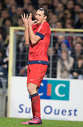 A frustrated Zlatan Ibrahimovic of PSG reacts after missing an opportunity to score. Toulouse v Paris St Germain, Ligue 1, Stade Municipal, Toulouse, France, 1st Feb 2013..Credit - Eoin Mundow/Cleva Media, www.clevamedia.com