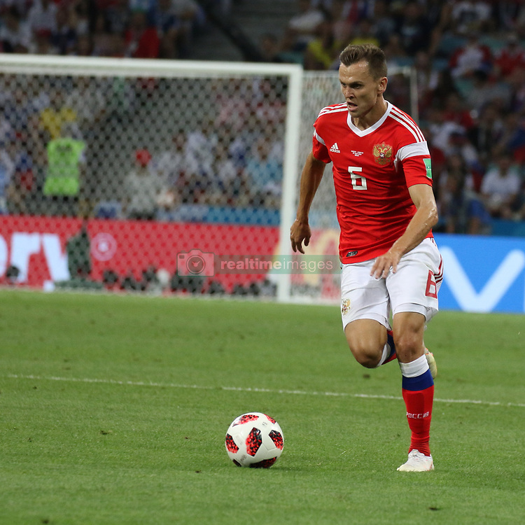 July 7, 2018 - Sochi, Russia - July 07, 2018, Sochi, FIFA World Cup 2018, the playoff round. 1/4 finals of the World Cup. Football match Russia - Croatia at the stadium Fisht. Player of the national team Denis Chershyshev. (Credit Image: © Russian Look via ZUMA Wire)