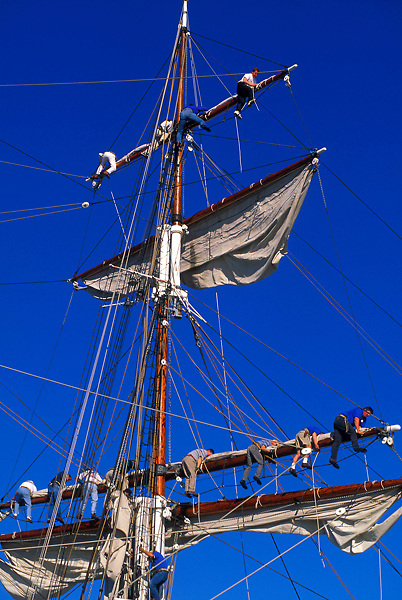 men working on the sails of the historic sailboat The Elissa in Galveston Texas
