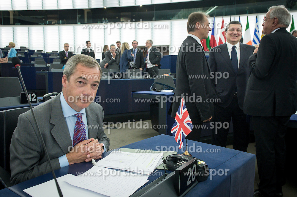 Nigel Farage (L), British Member of the European parliament and leader of the UK Independence Party (UKIP), and Jose Manuel Barroso (R), the president of the European Commission on the second day of plenary session at the European Parliament headquarters in Strasbourg, France on 02.07.2014. EXPA Pictures &copy; 2014, PhotoCredit: EXPA/ Photoshot/ Wiktor Dabkowski<br /> <br /> *****ATTENTION - for AUT, SLO, CRO, SRB, BIH, MAZ only*****