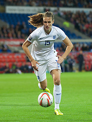 CARDIFF, WALES - Tuesday, August 21, 2014: England's Jill Scott in action against Wales during the FIFA Women's World Cup Canada 2015 Qualifying Group 6 match at the Cardiff City Stadium. (Pic by Ian Cook/Propaganda)