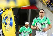 Highlanders' Ben Smith leads out his team during the Round 14 Super Rugby match, Hurricanes v Highlanders at Westpac Stadium, Wellington. 27th May 2016. Copyright Photo.: Grant Down / www.photosport.nz
