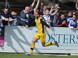 Barrow Niall Copperthwaite Celebrates after scoring Barrows Second Goal at Lowerstoft and nearer the Vanarama Conference North Title,   Lowerstoft Town  v Barrow, Conference North, Crown Meadow Lowerstoft, Barrow win 2-3 and win the Vanarama Conference North Title,  Promoted to the Conference League Saturday 25th April 2015