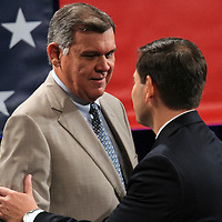 Former US State Sen. Mel Martinez, greets US Sen. Marco Rubio, R-Fla., speaks at the NALEO (National Association of Latino Elected and Appointed Officials) conference at the Disney Contemporary Resort Convention Center in Orlando, Fla. on Friday, June 22, 2012. (AP Photo/Alex Menendez) Marco Rubio speaks to NALEO members in Orlando, Florida.