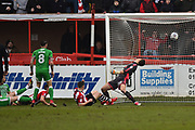 Goal - Jake Taylor (25) of Exeter City scores a goal to make the score 1-1 during the EFL Sky Bet League 2 match between Exeter City and Swindon Town at St James' Park, Exeter, England on 24 March 2018. Picture by Graham Hunt.