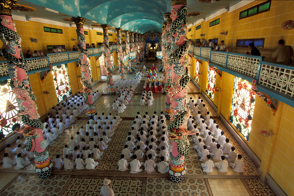 Cao Dai temple at Tay Ninh. The religion incorporates the philosophy and writings of Victor Hugo and Confucius