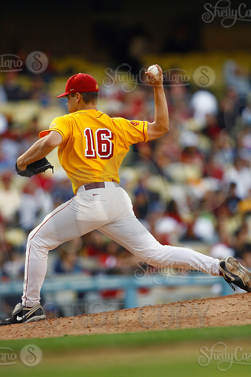 13 March 2011: NCAA Pac-10 college UCLA-USC sports rivalry baseball teams met in a non-conference game at Dodger Stadium as part of the Dodgertown Classic.  USC Trojans defeated the UCLA Bruins 2-0 during an afternoon weekend game inside the MLB stadium.  Pitcher #16 Chad Smith.