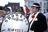 BEL, Belgium, Namur, Fosses-la-Ville, carnival, musician, drummer.....BEL, Belgien, Namur, Fosses-la-Ville, Karneval, Paukenspieler beim Festumzug....... ..