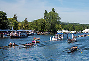 Henley on Thames, England, United Kingdom, 4th July 2019, Henley Royal Regatta,Windsor Boys and Windsorian RC with the verdict against, Community Rowing Boston USA, approaching the finishing line, Henley Reach, [© Peter SPURRIER/Intersport Image]<br /> <br /> 14:49:17 1919 - 2019, Royal Henley Peace Regatta Centenary,