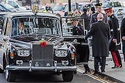 The royal party leave in a poppy adorned car - The Duke of Edinburgh, Life Member, Royal British Legion, accompanied by Prince Harry, visit the Field of Remembrance at Westminster Abbey  - 10 November 2016, London.