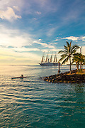 Windspirit, Sailing Cruise ship, Windstar Cruises, Vaitape, Bora Bora, French Polynesia