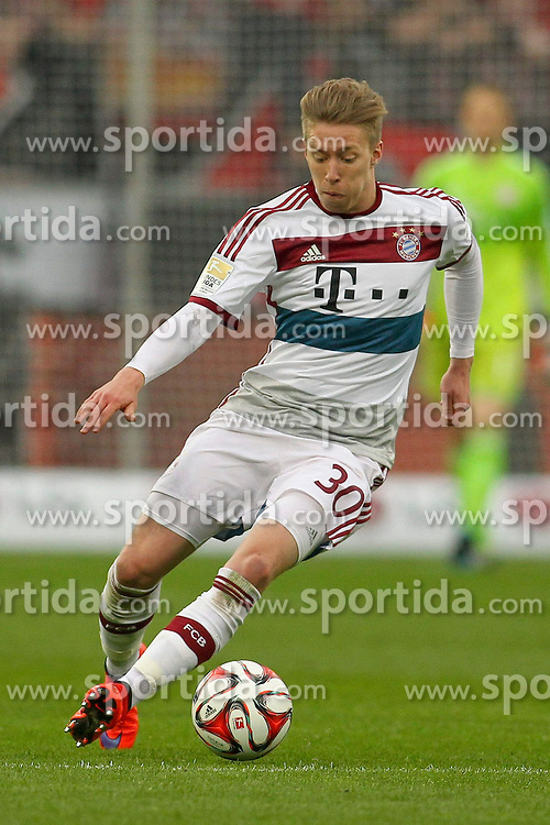 02.05.2015, BayArena, Leverkusen, GER, 1. FBL, Bayer 04 Leverkusen vs FC Bayern Muenchen, 31. Runde, im Bild Mitchell Weiser (FC Bayern Muenchen #30) // during the German Bundesliga 31th round match between Bayer 04 Leverkusen and FC Bayern Munich at the BayArena in Leverkusen, Germany on 2015/05/02. EXPA Pictures &copy; 2015, PhotoCredit: EXPA/ Eibner-Pressefoto/ Sch&uuml;ler<br /> <br /> *****ATTENTION - OUT of GER*****