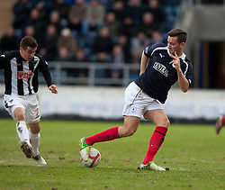 Dunfermline's Craig Dargo stunned by Falkirk's Kieran Duffie's skill. Falkirk 1 v 0 Dunfermline, 16/2/2013. ©Michael Schofield.
