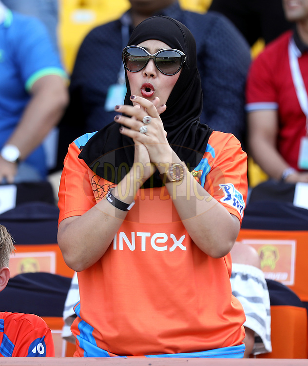 Taslima wife of Munaf Patel of the Gujarat Lions during match 26 of the Vivo 2017 Indian Premier League between the Gujarat Lions and the Kings XI Punjab held at the Saurashtra Cricket Association Stadium in Rajkot, India on the 23rd April 2017<br /> <br /> Photo by Sandeep Shetty - Sportzpics - IPL
