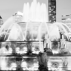 Panoramic picture of Chicago Buckingham Fountain and Chicago skyline at night. Panoramic picture ratio is 1:3.   Officially named the Clarence F. Buckingham Memorial Fountain, the fountain is a very popular attraction located in Grant Park in downtown Chicago.