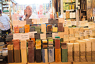 Turkey. Istambul. daily life in the spices bazaar of Istanbul Fuar Pazari cosmetics and soap shop / le bazaar des epices; Boutique de cosmetiques.