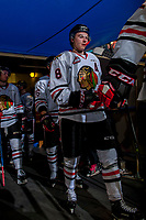 KELOWNA, CANADA - OCTOBER 21: Cody Glass #8 of the Portland Winterhawks walks to the ice at the start of second period against the Kelowna Rockets on October 21, 2017 at Prospera Place in Kelowna, British Columbia, Canada.  (Photo by Marissa Baecker/Shoot the Breeze)  *** Local Caption ***
