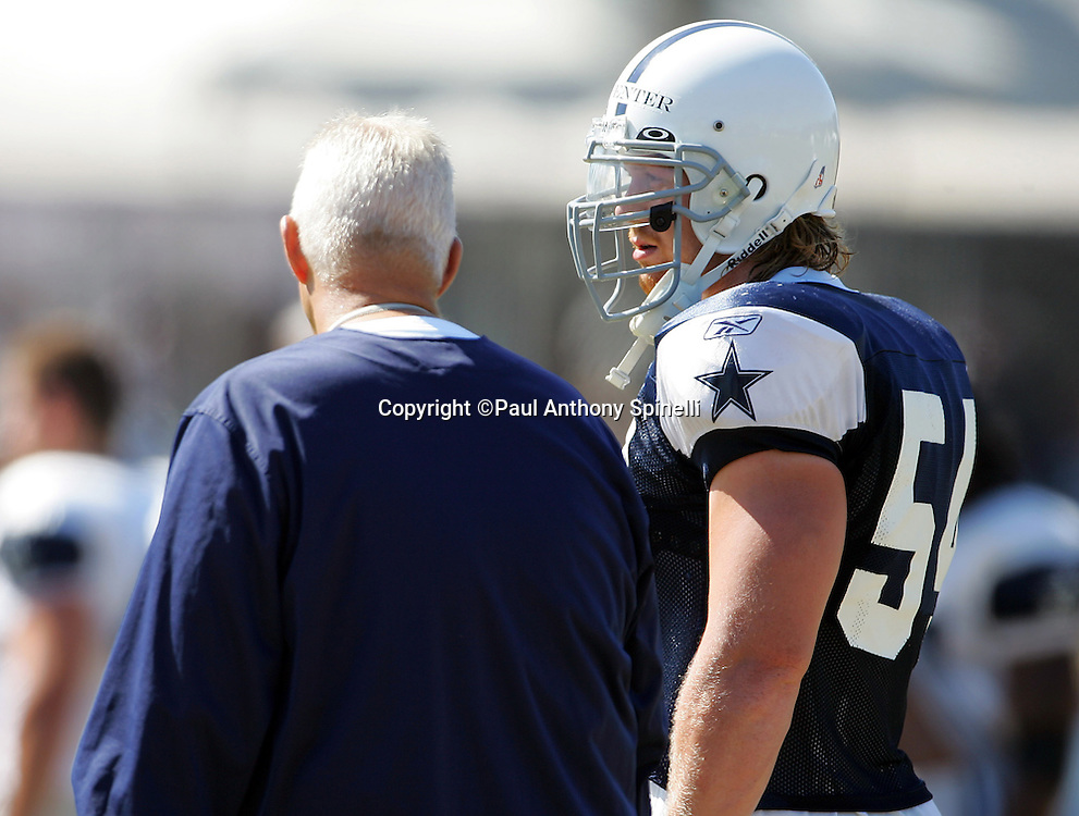 OXNARD, CA - AUGUST 9:  Linebacker Bobby Carpenter #54 (first round pick in the 2006 NFL draft) of the Dallas Cowboys works out during the Dallas Cowboys training camp on August 9, 2006 in Oxnard, California. ©Paul Anthony Spinelli *** Local Caption *** Bobby Carpenter